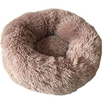 Tqgold ペットベット ペットソファ 猫 小型犬 あったか マットペット用品 長い起毛 寝床 クッション 洗える 消臭 除菌 滑り止め 丸型 通年タイプ 四季適用 ダークブラウン 50cm 猫 ソファ ペット用品 小型犬