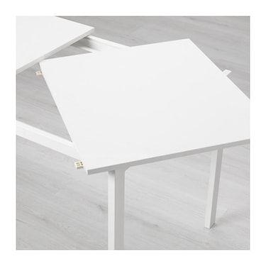 VANGSTA Mesa extensible, blanco, longitud mínima: 120 cm