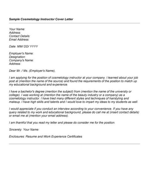 Cosmetology Cover Letter  Resume Template