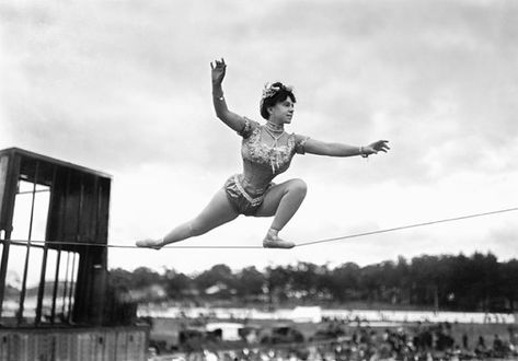 Mademoiselle Omega, a note card by Greetings from Other Worlds on Etsy ($3) #greetings #greetingcard #notecard #cards #vintage #vintagephotos #vintageimages #funcards #funnycards #tightrope #balance #balancedlife #balancedlifestyle #circus #carnival