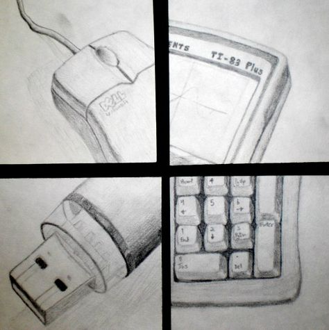 8th grade-VALUE--Four items that represent you...cropped and up close drawing