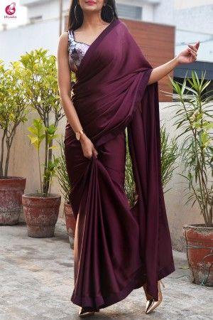 Dark Purple Satin Silk Plain Saree With Un-stitched Digital Printed Blouse For Women Wear Party Wear Wedding Wear Sari