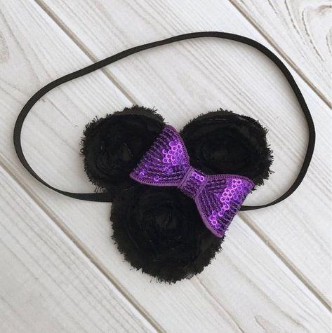 Minnie Mouse Ears for Baby. Disney Hair Accessories. Black and Purple  Headband. Mickey Ears Hair El 5398e45f576