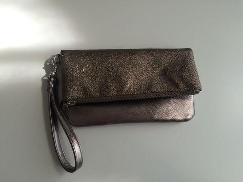 Tasche, Clutch, taupe, glitzer, metallik, handtasche, bijou