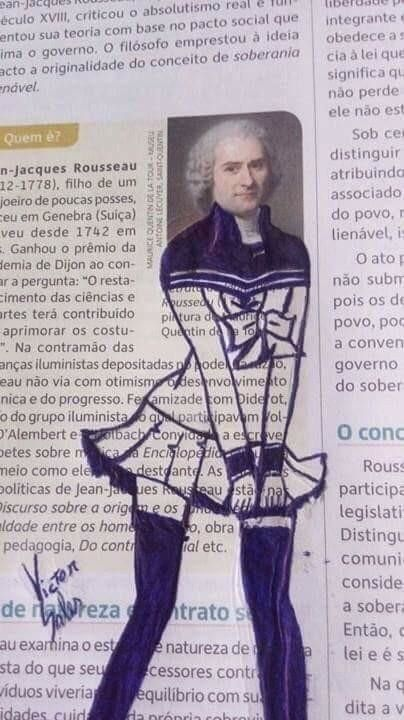 This attire drawn onto Jean-Jacques Rousseau. 19 Hilarious Times Vandalism Was Honestly Kind Of Impressive