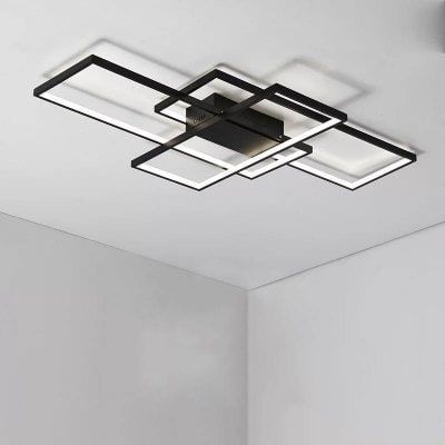 Modern Black Led Flush Mount Ceiling Light Square Combination