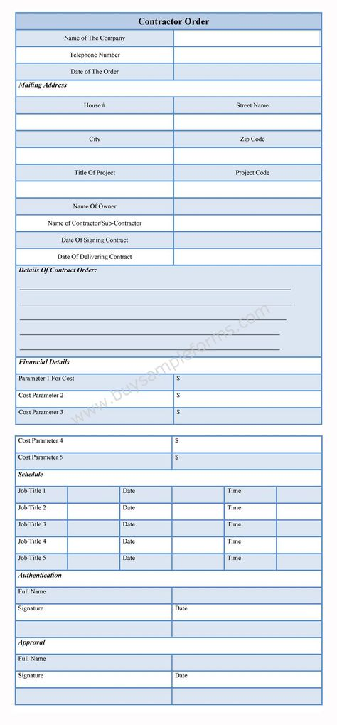 sample of General Contractor Forms is available online for - appraisal order form