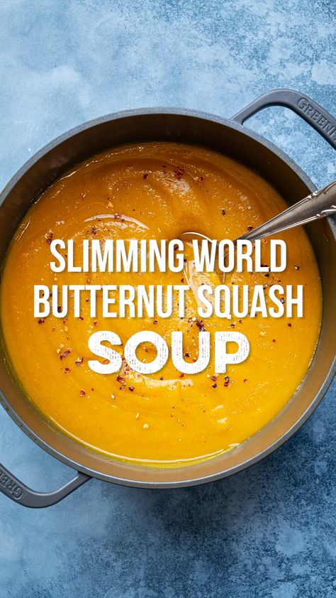 This delicious Butternut Squash Soup is super-easy to make and Syn Free on Slimming World. Read my tips on how to flavour and choose your favourite soup making method: Stovetop, Slow Cooker, Instant Pot and Soup Maker instructions included.  #SlimmingWorld #ButternutSquashSoup