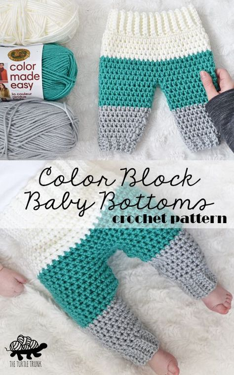 Crochet baby pants pattern : Color Block Baby Bottoms crochet pattern by The Turtle Trunk Made with Lion Brand Yarn Color Made Easy Crochet Bebe, Crochet For Boys, Free Crochet, Boy Crochet, Crochet Lion, Crochet Hats, Crochet Baby Pants, Crochet Baby Clothes Boy, Crochet Baby Sweaters