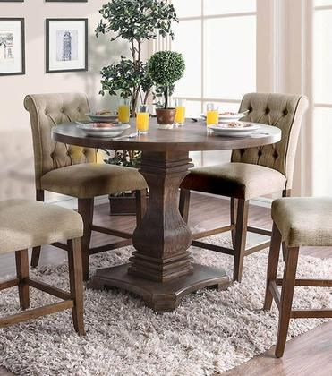 Furniture Of America Nerissa Dining Table Cm3840arpttable Antique Oak Counter Height Dining Room Tables Counter Height Table Round Counter Height Table