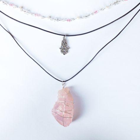 Handmade baby pink beaded choker, leather hamsa choker, rose quartz pendant