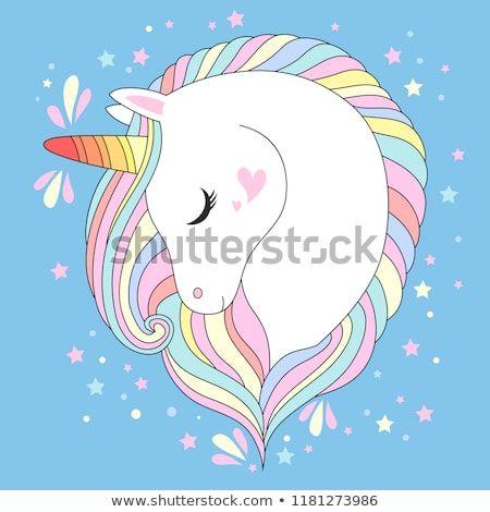 Vector Unicorn Head Cute White Unicorn With Rainbow Hair And
