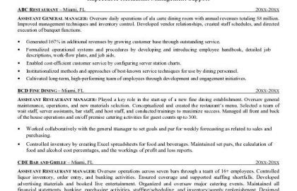 restaurant assistant manager cover letter - Yatay ...