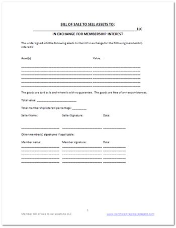 Free LLC bill of sale template DIY Business Docs Pinterest - membership forms templates