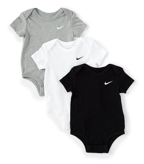 Nike Baby Newborn-9 Months Swoosh Bodysuit 3-Pack | Dillard's #baby #boy #clothes #0-3 #months #nike #outfit #babyboyclothes0-3monthsnikeoutfit From Nike, this pack features: 3 bodysuitsPure cotton jersey fabric Envelope collar for added room and easy removalRib trim helps keep clothes in placeSnap closures at bottom hem for quick changingcottonmachine washImported. Baby Outfits Newborn, Baby Boy Newborn, Carters Baby, Baby Gap, Baby Nike Outfits, Baby Monat Für Monat, Cute Baby Clothes, Babies Clothes, New Born Clothes