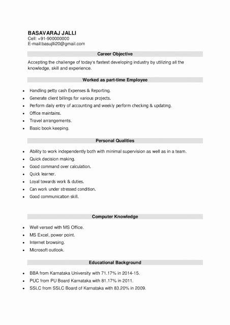 Sample Resume For Freshers Beautiful Latest Resume Format For Bba Freshers Download Resume Samples Resume Format Job Resume Template College Resume Template