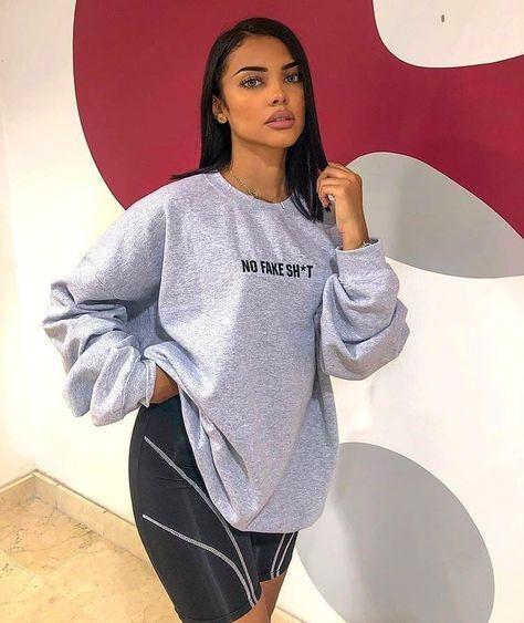 missy empire Jeena Grey No Fake Sh*t Oversized Sweatshirt