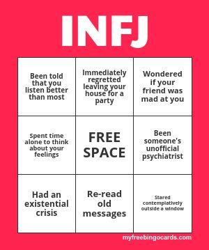 (ノ◕ヮ◕)ノ*:・゚✧ — MBTI Introverts Bingo  NOTE: Extroverts' version...