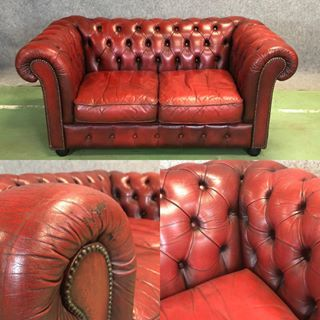 Canape Chesterfield En Cuir Rouge Antiques Antiquites Vintage Galery Deco Homedecoration Decoration Frenchart Vintageh Canape Chesterfield Meuble Chesterfield