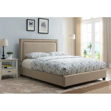 Mantua Baffin Queen Size Taupe Linen Platform Bed Grey Size