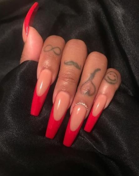 25 Ideas Nails Acrylic Red With Diamonds For 2019 Red Acrylic Nails Cute Acrylic Nails Long Acrylic Nails