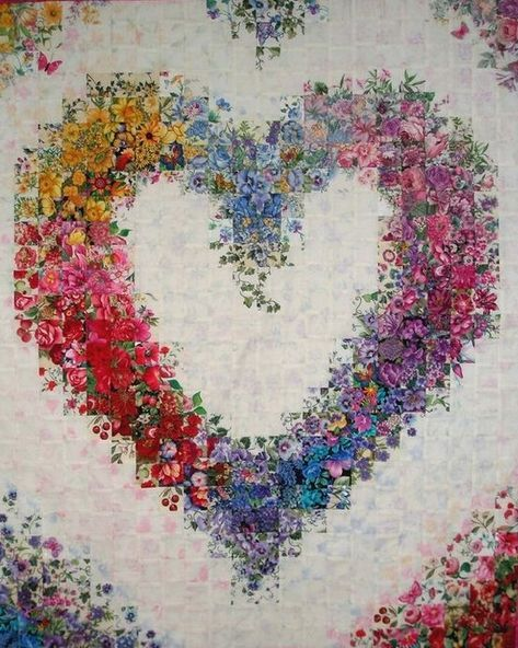 how to do crazy patchwork Colchas Quilt, Bargello Quilts, Bargello Quilt Patterns, Watercolor Quilt, Watercolor Heart, Baby Girl Quilts, Girls Quilts, Heart Quilt Pattern, Flower Quilts