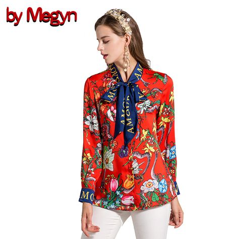 8943be0e6396d By Megyn 2017 Fashion Designer Runway Women Blouses Bow Long Sleeve Shirt  Snake Print Women Blouses Plus Size XXXL Female Blouse