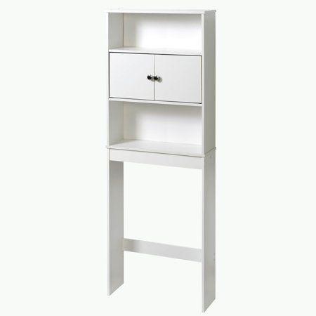 Mainstays Bathroom Storage Over The Toilet Space Saver With Three Shelves White Walmart Com Space Savers Storage Cabinet Shelves Bathroom Space Saver