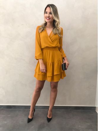 1f6b09c5b Vestido-Curto-Raquel-Mostarda | Fashion em 2019 | Vestidos elegantes  curtos, Looks femininos e Vestidos casuais
