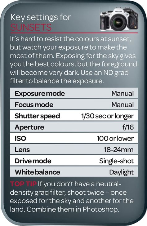 In our photography cheat sheet you'll find the best camera settings for sunsets. Use these as a starting point for great pictures!