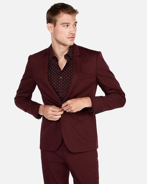 a50f6267a2 Express Extra Slim Burgundy Cotton Sateen Stretch Suit Jacket ...