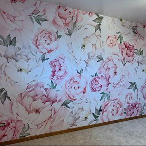 Dusty Peony Floral Wallpaper Removable Blush Flowers Etsy Peony Wallpaper Floral Wallpaper Pink Peonies Wallpaper