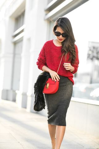 Home :: Passionate red & Knit midi skirt