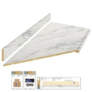 Hampton Bay 8 Ft Laminate Countertop Kit In Calcutta Marble With Valencia Edge 12337kt08n4925 The Home Depot In 2020 Laminate Countertops Countertop Kit Calcutta Marble