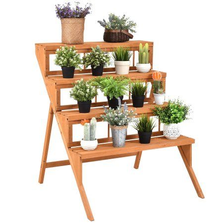 Home Wood Plant Stand Flower Pot Holder Plant Stand