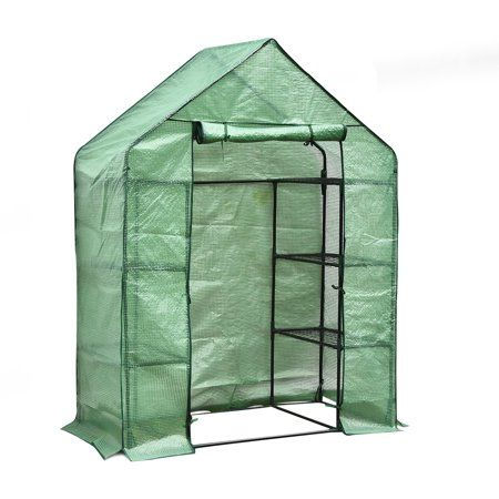 Portable Mini Walk In 4 Tier 6 Shelves Greenhouse Outdoor Gardening Hot House With Pe Cover And Roll Up Zipper Door Walmart Com Walk In Greenhouse Wooden Greenhouses Greenhouse