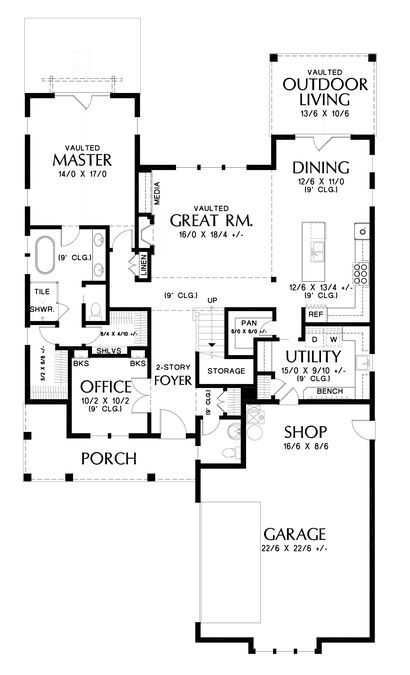 Image For Bryson Modern Farmhouse With Side Loading Garage Main Floor Plan About 2500 Sq Ft With Images Contemporary House Plans Modern Farmhouse Plans Garage Floor Plans
