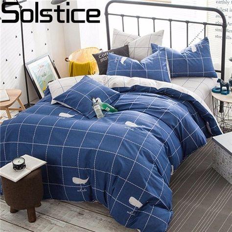 Blau Einfache Gitter Streifen Bettwasche Garnituren Doppelbett