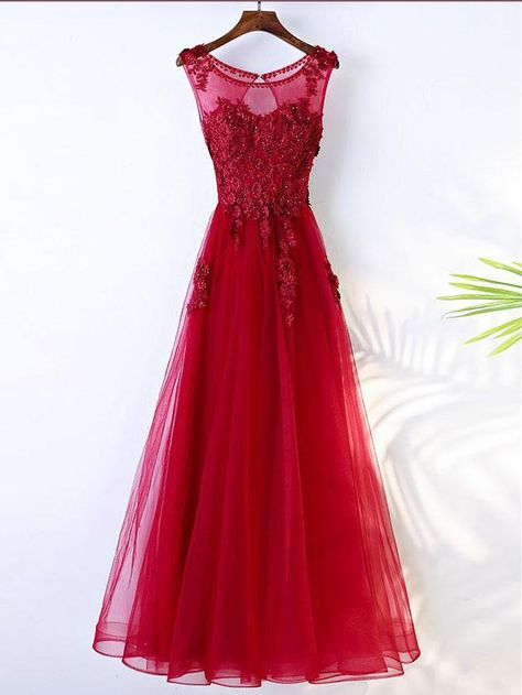 619712b45 Chic A-line Scoop Red Tulle Applique Modest Prom Dress Evening Dress AM447