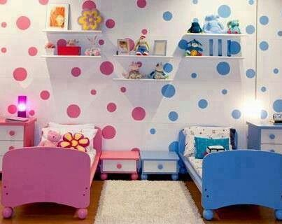 Girls Bedroom Paint Ideas Polka Dots quarto de irmãos, menino e menina, como decorar? | shared rooms