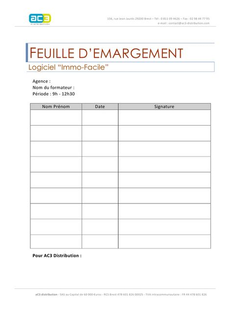 Exemple Modele Feuille D Emargement Exemple Et Formateurs
