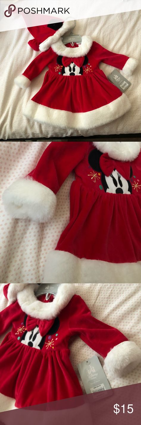 disney christmas costumes #Weihnachtskostme Disney Minnie Mouse Christmas dress (0-3 months) Red Christmas velvet dress! Beautiful faux fur cuffs amp; bottom. Includes Disney Christmas Santa velvet hat. Perfect for photoshoot or simply to celebrate. Never worn completely new! Disney Costumes Seasonal
