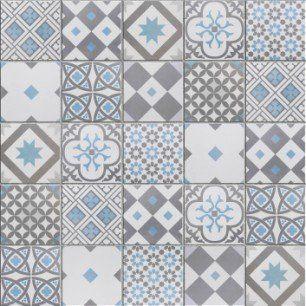 Mosaique Sol Et Mur Gatsby Decor Gris Et Bleu 6 17 X 6 17 Cm Carreaux De Ciment Salle De Bain Imitation Carreaux De Ciment Et Decoration Gris
