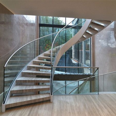 China Staircase Manufacturer Demax Arch Stairs Design Modern | Glass Railing For Stairs Price | Curved Glass Balustrade | China | Spiral Staircase | Frameless Glass | Cable Railing
