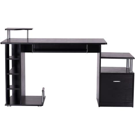 Homcom Bureau Pour Ordinateur Table Meuble Pc Informatique En Mdf Noir Meuble Pc Bureau Ordinateur Bureau