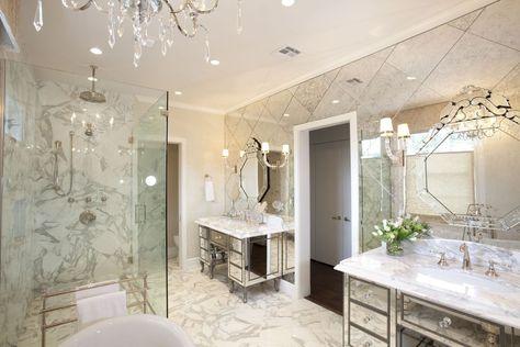 Art Deco Master Bathroom With Vasari