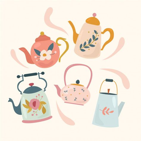 Tea Illustration, Tea Pot Set, Tea Art, Hygge, Sticker Design, Cute Drawings, Vintage Teapots, Art Inspo, Character Design