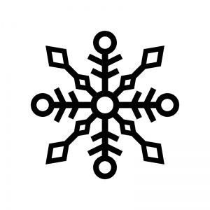無料イラスト/春夏秋冬 雪の結晶 イラスト 白黒