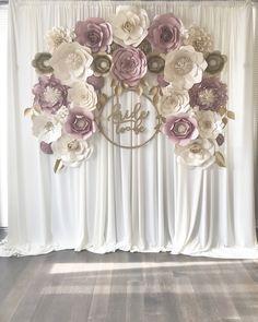 Mauve Dusty Rose Paper Flower Backdrop Engagement Baby Shower