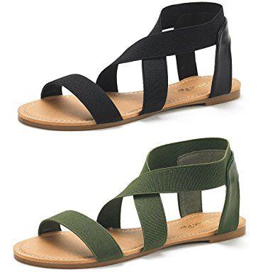 a1b5ba99098eb Amazon.com | DREAM PAIRS Women's ELATICA Elastic Ankle Strap Flat ...